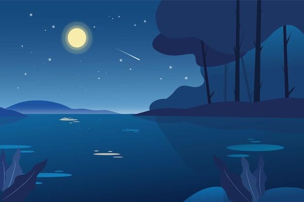 Illustrazione del paesaggio della natura di notte di luna piena
