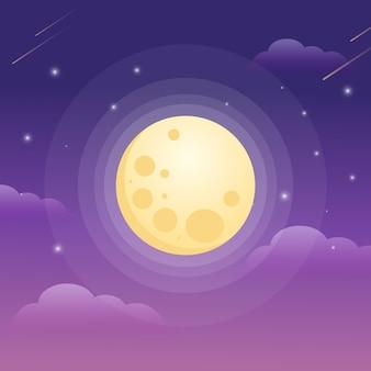 Luna piena e notte stellata
