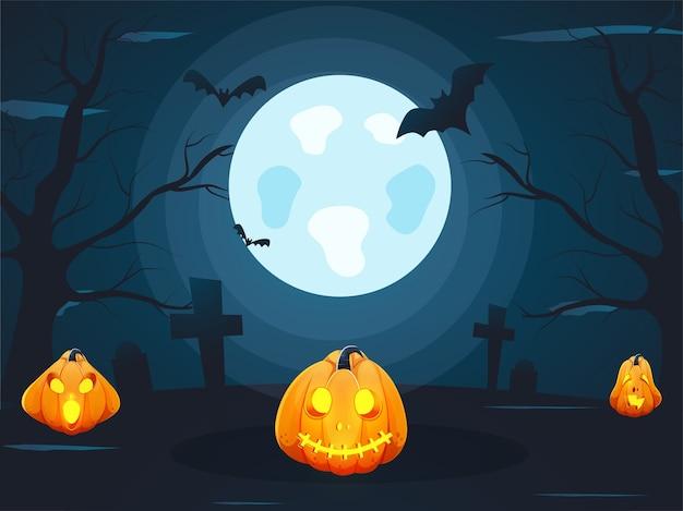 Sfondo blu foglia di luna piena con alberi spogli, pipistrelli volanti, croce del cimitero e jack-o-lanterne per la festa di halloween.