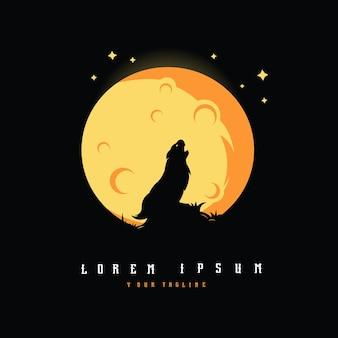 Luna piena e lupi ululano logo design illustrazione vettoriale