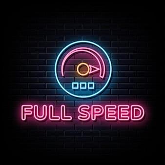 Simbolo del segno di vettore dell'insegna al neon a piena velocità