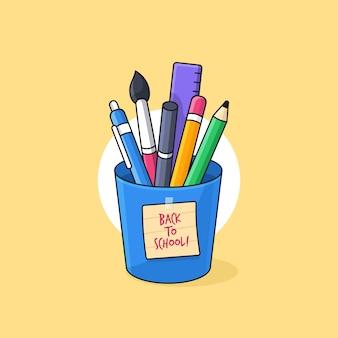 Pieno di strumenti per studenti e creatività all'interno di una tazza con illustrazione di nota adesiva di ritorno a scuola