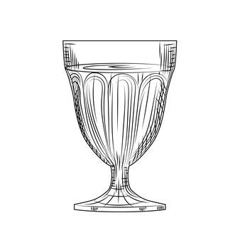 Schizzo di bicchiere di vino pieno. stile di incisione. illustrazione vettoriale isolato su sfondo bianco.