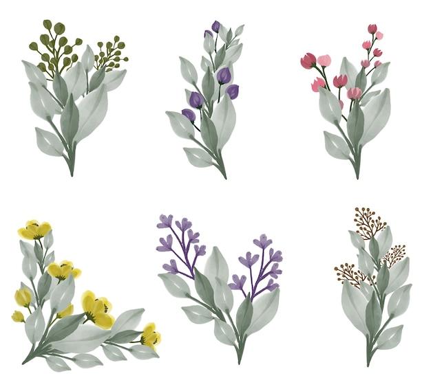 Collezione di acquerelli di fiori di campo a colori pieni