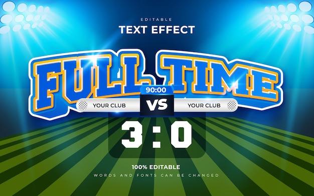 Effetti di testo modificabili 3d di calcio a tempo pieno