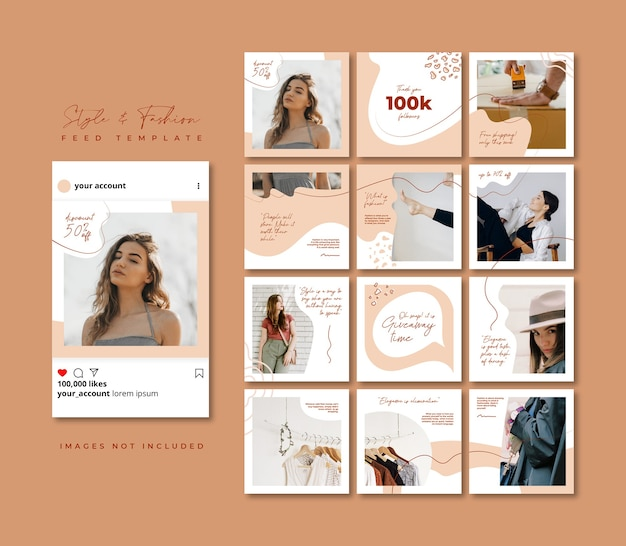 Post di instagram e facebook completamente modificabili. modello di feed di puzzle social media di vendita di moda beige