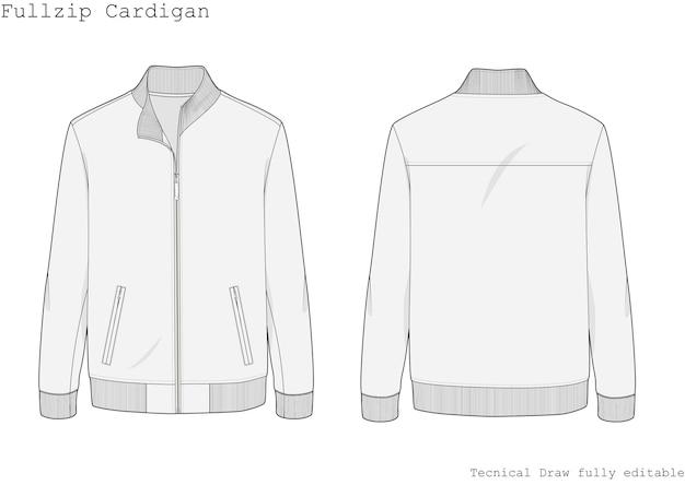 Cardigan con zip intera e disegno tecnico a mano