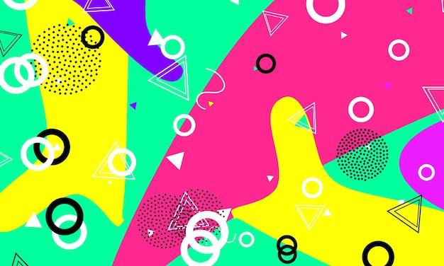 Modello di sfondo divertente. colori rosa, verdi, gialli. stile hipster anni '80-'90.
