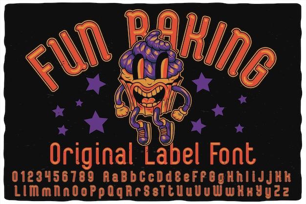 Carattere tipografico di alfabeto di cottura divertente
