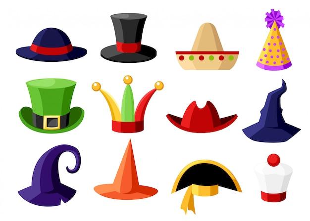 Divertente raccolta festiva di carnevale di celebrazione carina e illustrazione di cappello travestimento sulla pagina del sito web di sfondo bianco e app mobile