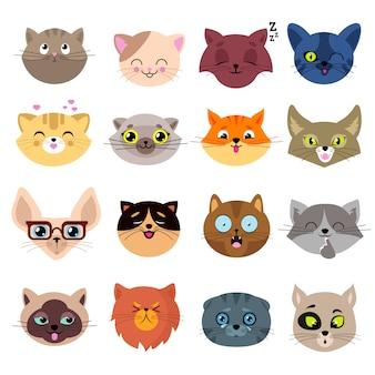 Divertenti facce di gatto dei cartoni animati. insieme di ritratti di gattino carino vettoriale