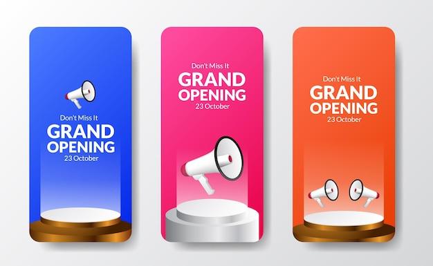 Divertente modello colorato di storie sui social media di grande apertura con altoparlante a megafono e palco sul podio con sfondo luminoso