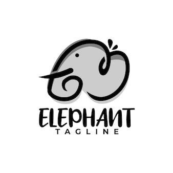 Divertente elefante logo illustrazione animale logo vettoriale per qualsiasi attività relativa a bambini o animali