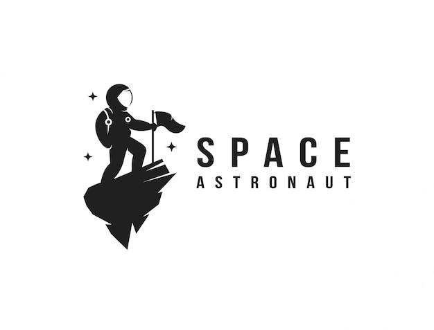 Modello dell'icona di logo della mascotte dell'astronauta dello spazio di esploratore divertente