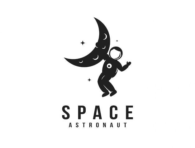 Modello di logo della mascotte dell'astronauta dello spazio di esploratore divertente, astronauta appeso al logo della luna