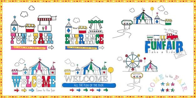 Illustrazione del distintivo della fiera del divertimento con il design del parco a tema di divertimenti