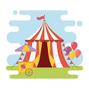 Divertimento fiera carnevale tenda gelato cabina palloncini intrattenimento ricreativo
