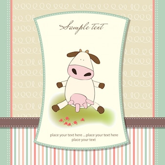 Divertente biglietto di auguri con mucca