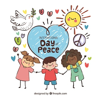 Divertenti bambini disegnati a mano in un giorno di pace