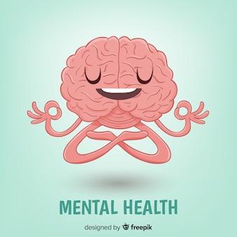Concetto di salute mentale disegnato a mano di divertimento