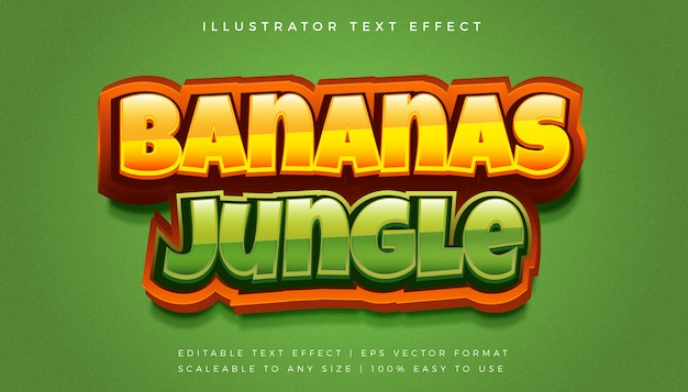 Fun jungle 3d text style effetto carattere