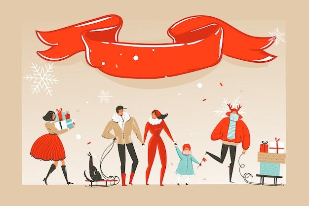 Divertimento buon natale tempo illustrazione felice natale persone e nastro rosso con copia spazio posto isolato su sfondo artigianale