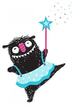 Divertente monster dancing princess humorous cartoon per bambini