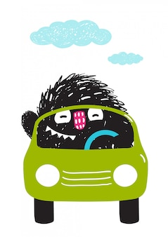 Divertente monster driving car cartoon per bambini