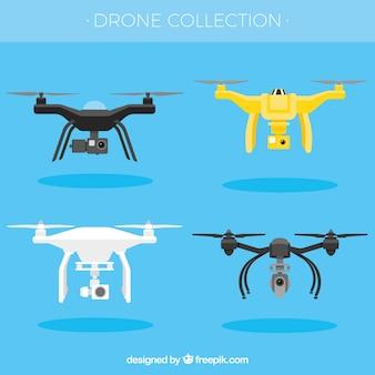 Pacchetto divertente di droni moderni Vettore Premium