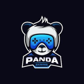 Divertente panda gaming logo esport