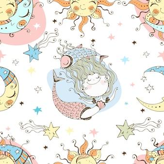 Un divertente motivo senza cuciture per i bambini. segno zodiacale pesci. vettore.