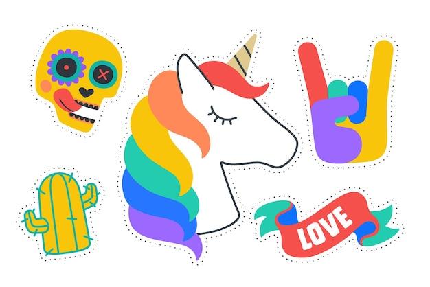 Adesivi divertenti. adesivi colorati e divertenti: unicorno, cactus, nastro d'amore, teschio, segno della mano di roccia. disegna adesivi per cartoni animati, spille, toppe chic, distintivi isolati su sfondo scuro. illustrazione vettoriale