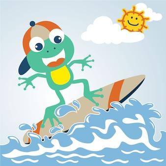 Divertimento surf con simpatico cartone animato rana