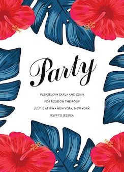 Modello di invito festa tropicale divertente invito festa aloha