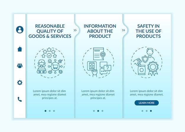 Modello vettoriale di onboarding dei diritti fondamentali del cliente. sito mobile reattivo con icone. procedura dettagliata della pagina web in 3 schermate. sicurezza nell'utilizzo del concetto di colore dei prodotti con illustrazioni lineari