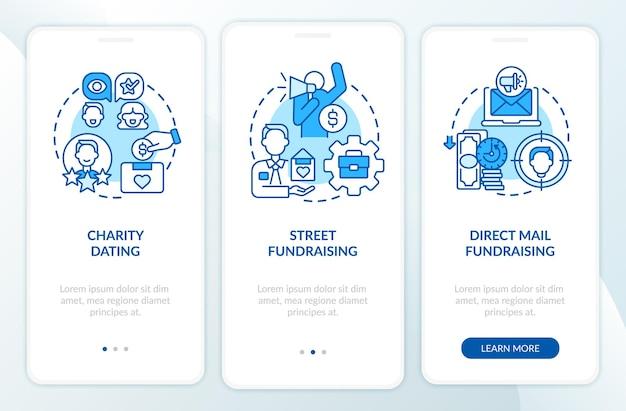 Appello alla raccolta fondi per la schermata della pagina dell'app mobile onboarding di fondi. procedura dettagliata per la raccolta fondi di strada in 3 passaggi, istruzioni grafiche con concetti. modello vettoriale ui, ux, gui con illustrazioni a colori lineari