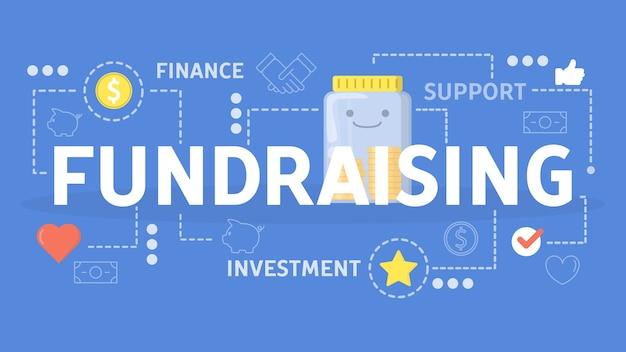 Concetto di raccolta fondi. idea di beneficenza e donazione