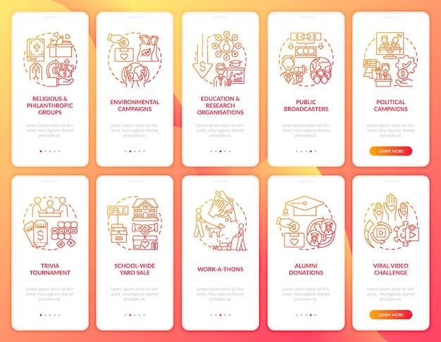 Eventi di raccolta fondi durante l'inserimento delle schermate della pagina dell'app mobile