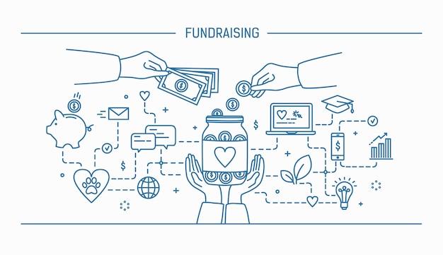 Raccolta fondi. line art piatto contorno illustrazione.