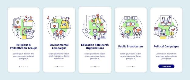 Tipi di raccolta fondi nella schermata della pagina dell'app per dispositivi mobili. gruppi filantropici procedura dettagliata 5 passaggi istruzioni grafiche con concetti. modello vettoriale ui, ux, gui con illustrazioni a colori lineari