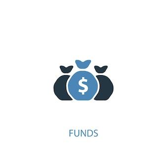 Concetto di fondi 2 icona colorata. illustrazione semplice dell'elemento blu. disegno di simbolo di concetto di fondi. può essere utilizzato per ui/ux mobile e web