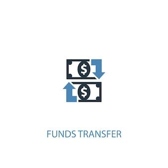 Concetto di trasferimento di fondi 2 icona colorata. illustrazione semplice dell'elemento blu. disegno di simbolo di concetto di trasferimento di fondi. può essere utilizzato per ui/ux mobile e web