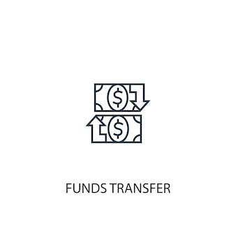 Icona della linea del concetto di trasferimento di fondi. illustrazione semplice dell'elemento. disegno di simbolo di struttura di concetto di trasferimento di fondi. può essere utilizzato per ui/ux mobile e web