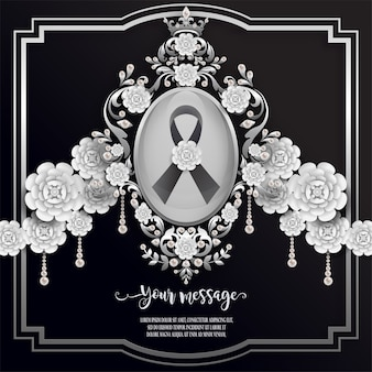 Modello di carta funebre con nastro nero e fiori bianchi