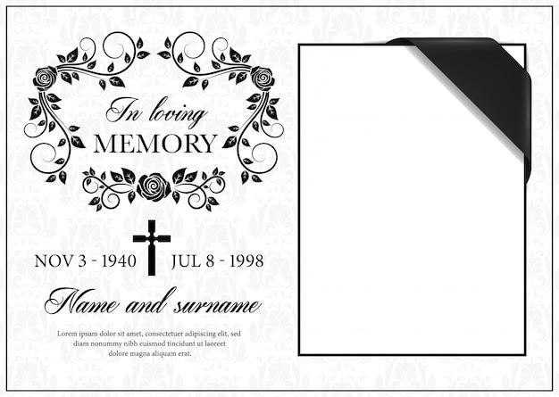 Scheda funerale, cornice di condoglianze vintage