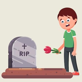 Cerimonia funebre. addio ai morti. posa fiori sulla tomba. illustrazione vettoriale piatta