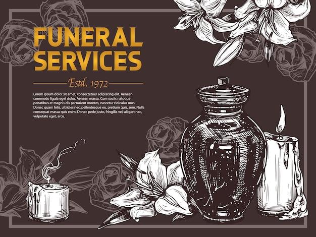 Manifesto disegnato a mano di servizio funebre con illustrazione di schizzo con urna per ceneri