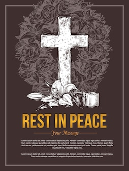 Illustrazione disegnata a mano della carta di massaggio dello strappo di servizio funebre
