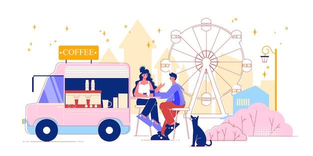 Composizione del furgone del caffè del parco di divertimenti del luna park