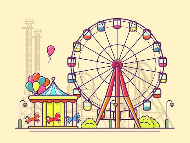 Luna park con ruota panoramica. divertimento e carnevale, giostra nel parco.